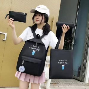 Eshaalfashion 4pcs Set Backpack Fashion Black 1