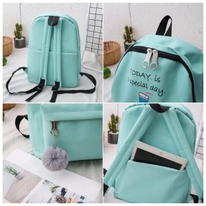 Eshaalfashion 4pcs Set Backpack Fashion Black 19