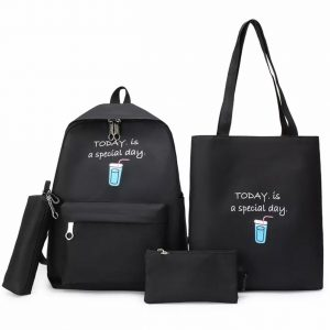 Eshaalfashion 4pcs Set Backpack Fashion Black 2