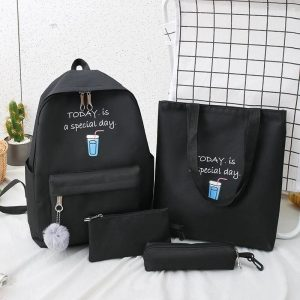 Eshaalfashion 4pcs Set Backpack Fashion Black 3