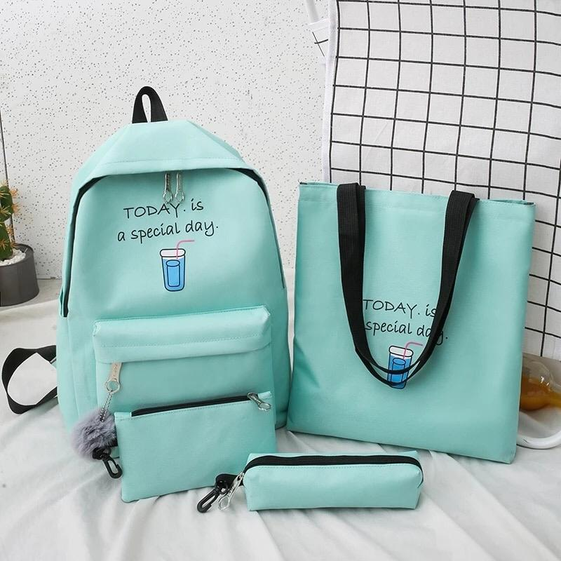 Eshaalfashion 4pcs Set Backpack Fashion Blue 2