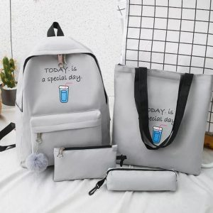 Eshaalfashion 4pcs Set Backpack Fashion Grey 2