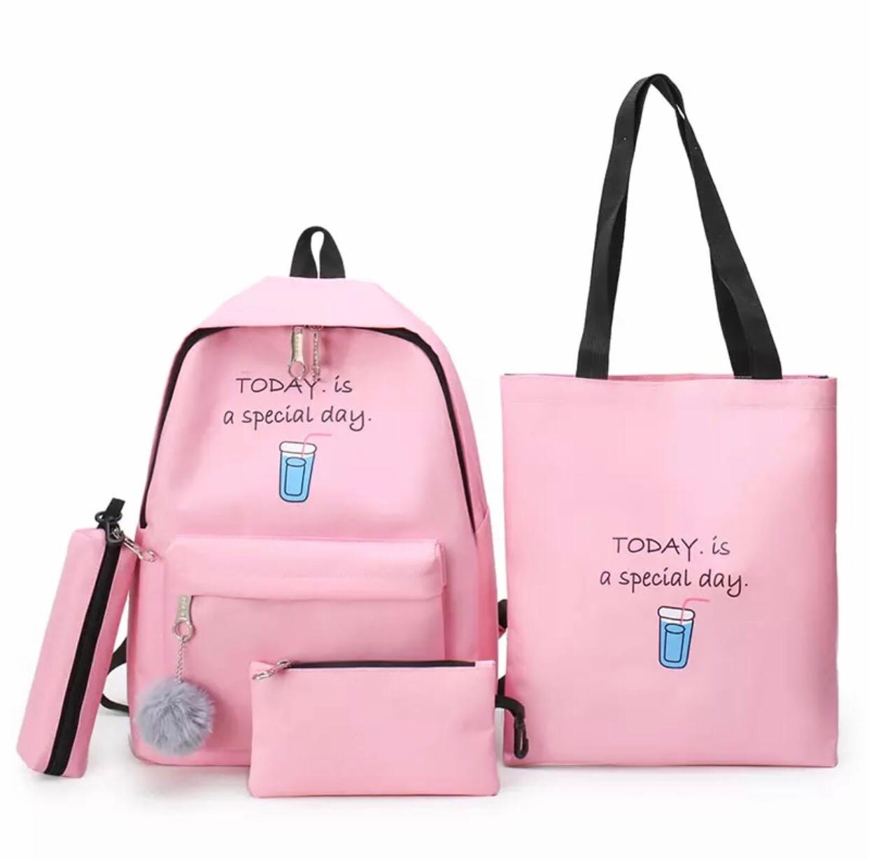Eshaalfashion 4pcs Set Backpack Fashion Pink 1