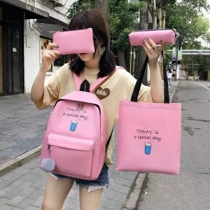 Eshaalfashion 4pcs Set Backpack Fashion Pink 2