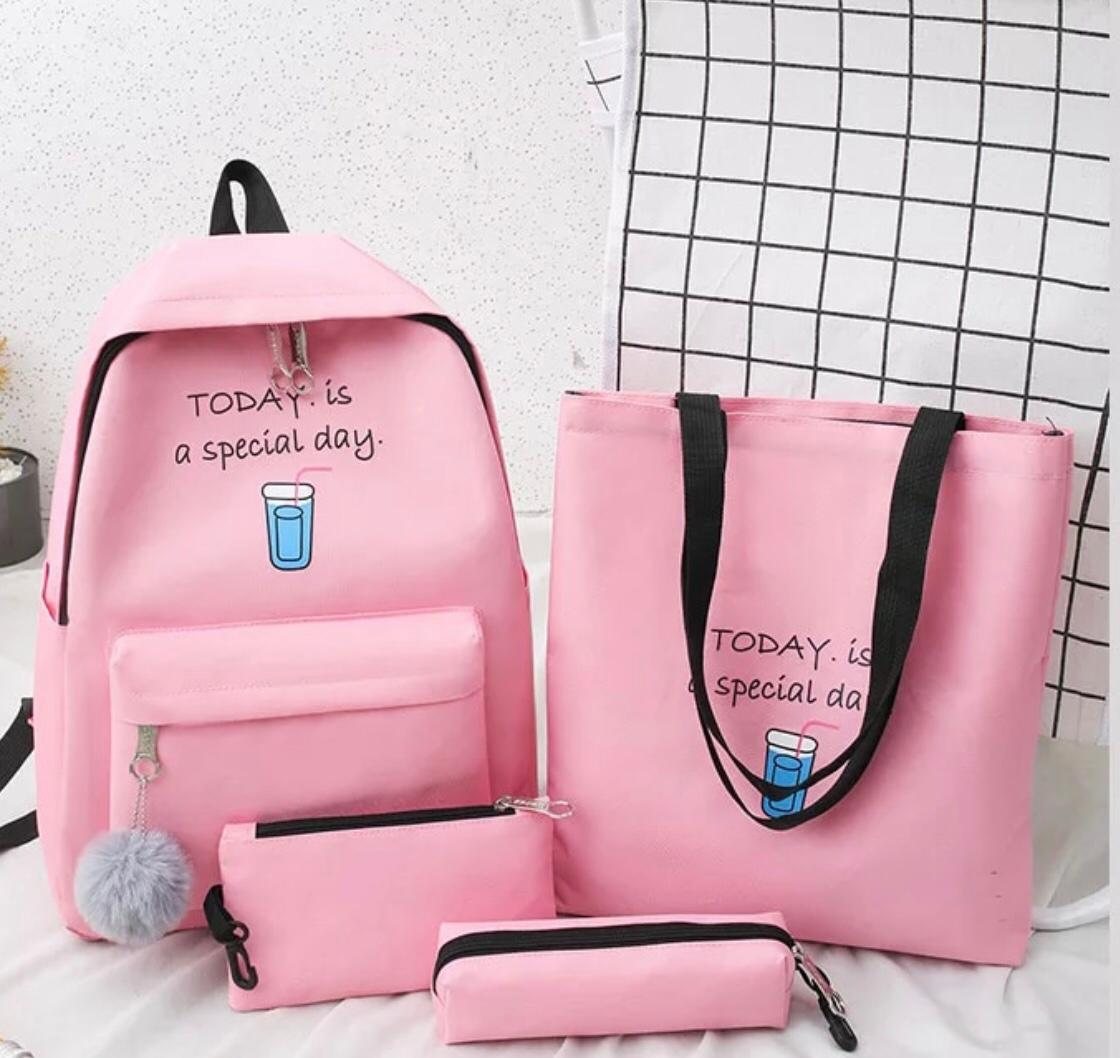 Eshaalfashion 4pcs Set Backpack Fashion Pink 3