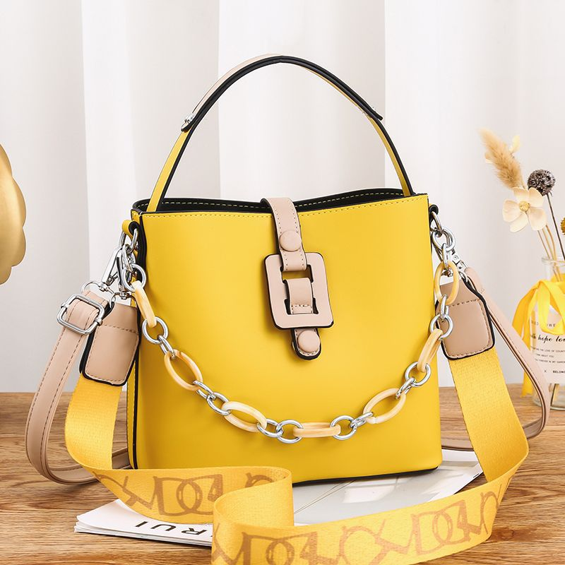 Eshaals New Fashion Solid Color Wide Shoulder Strap Yellow