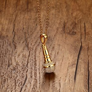 EshaalFashion Golden Mic Pendant with Chain for Men and Women