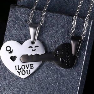 EshaalFashion Heart Lock Double Necklace for Men and Women