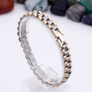EshaalFashion Classic Two Tone Stainless Steel Bracelet