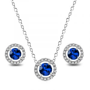 Sapphire Pendant and Earring Set