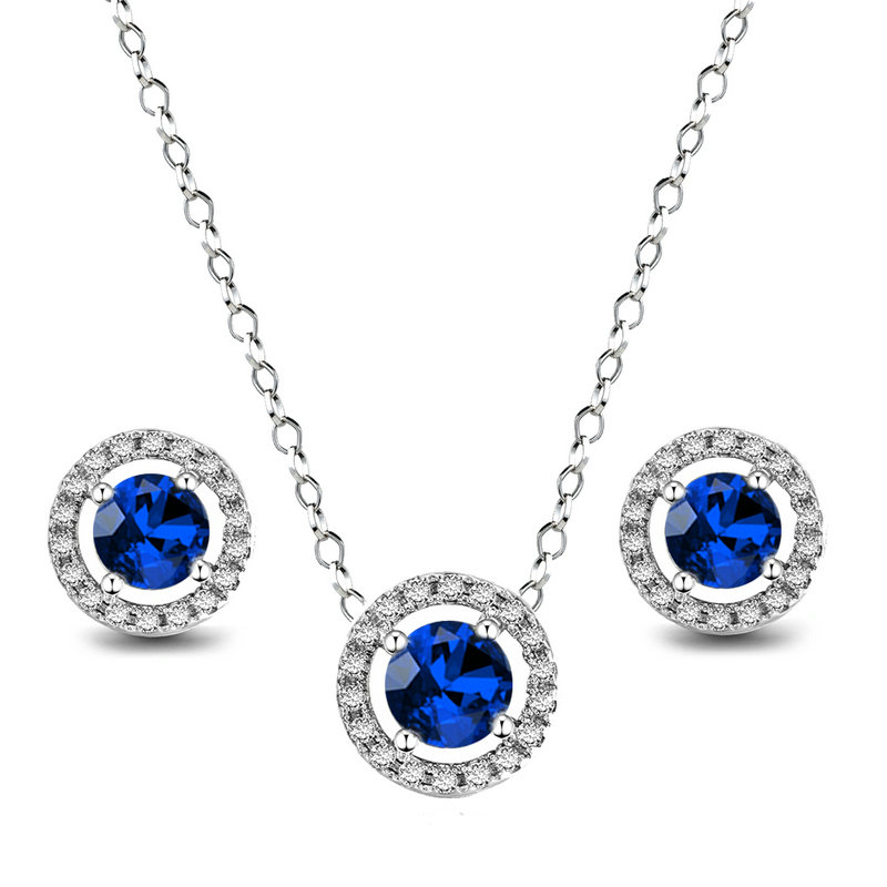 Round Sapphire Pendant and Earring Set