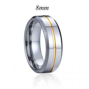 Silver with Golden Line Tungsten Carbide Ring 2