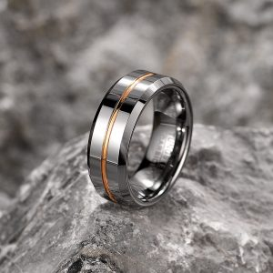 Shinny Silver with Golden Line Tungsten Carbide Ring