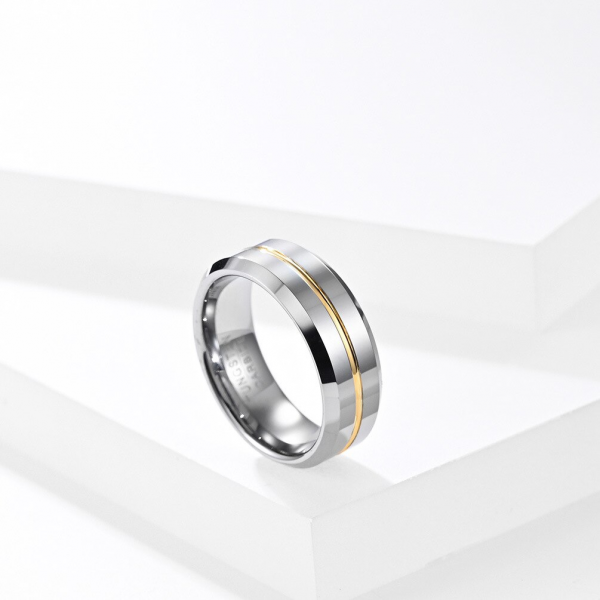 Silver with Golden Line Tungsten Carbide Ring 5