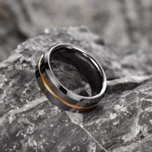 Silver with Golden Line Tungsten Carbide Ring 6