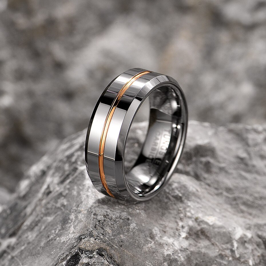 Silver with Golden Line Tungsten Carbide Ring