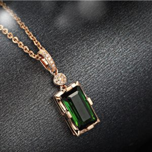 Emerald Green with Rose Gold Chain Pendant